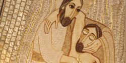 Madrid - Modern mosiac of Good Samaritan in Almudena cathedral. Adobe Stock: by Renáta Sedmáková